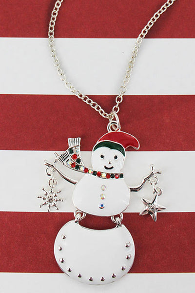 Crystal Accented Enamel and Silvertone Hinged Snowman Pendant Necklace