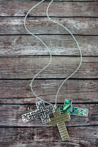 Two-Tone and Abalone 'John 3:16' Triple Cross Necklace
