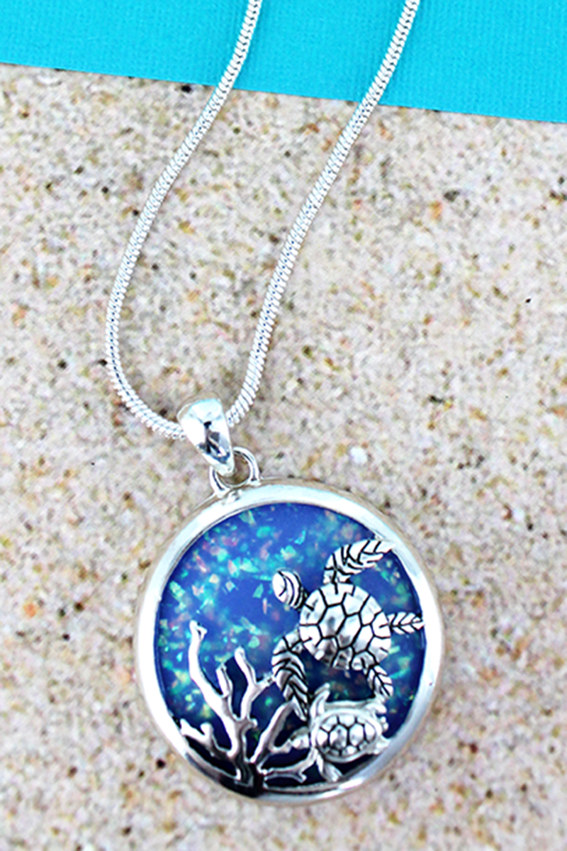Blue Opal and Silvertone Sea Turtle Disk Necklace
