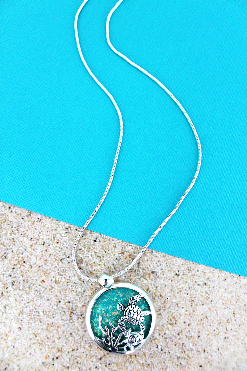 Turquoise Opal and Silvertone Sea Turtle Disk Necklace