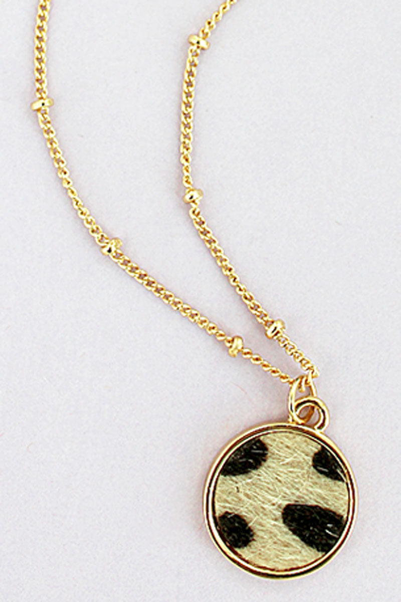 Cheetah and Goldtone Petite Disk Pendant Necklace