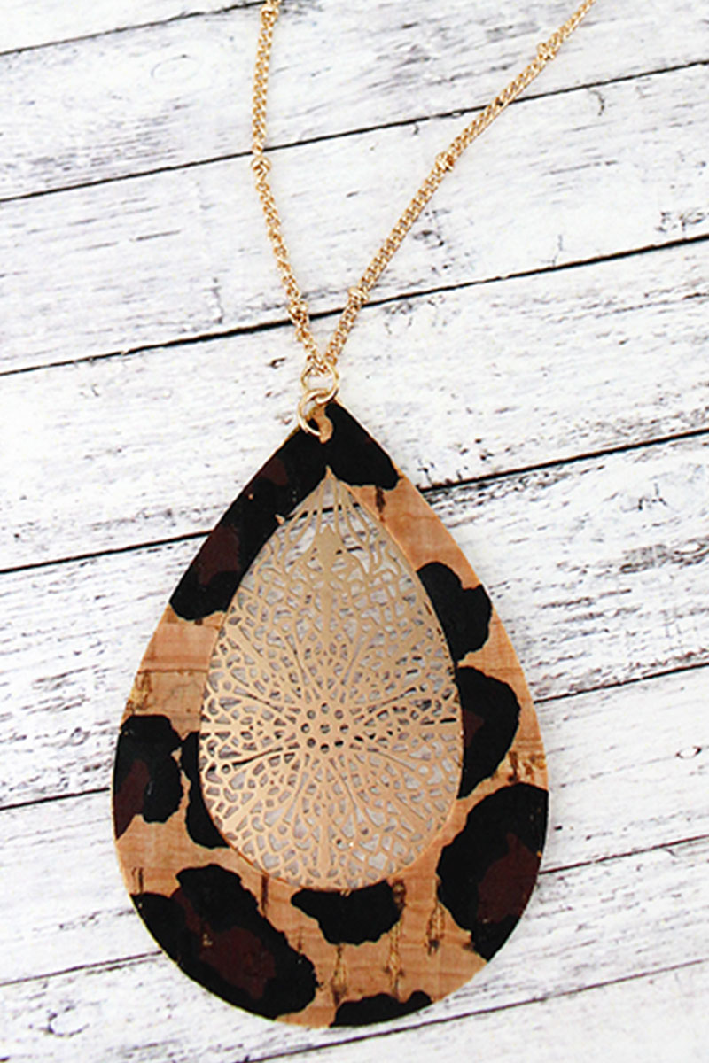 Leopard Cork and Goldtone Filigree Teardrop Necklace
