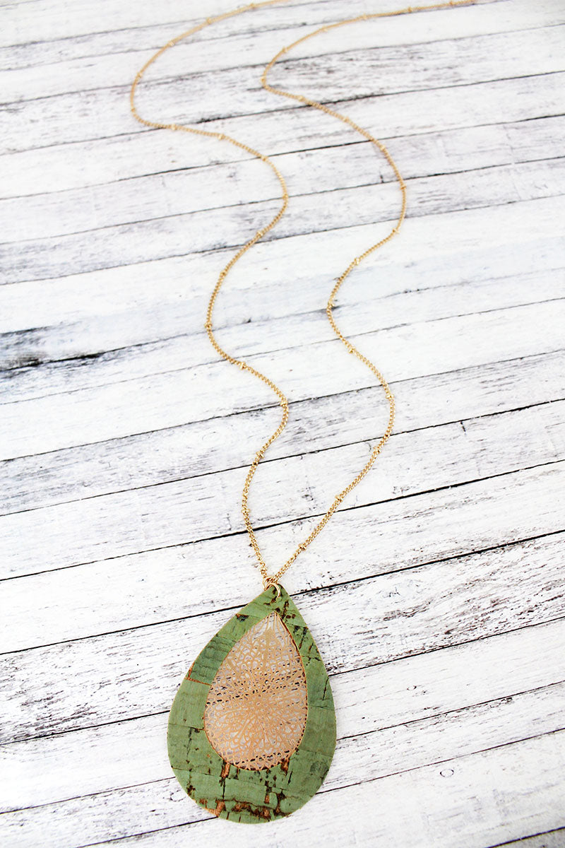 Mint Cork and Goldtone Filigree Teardrop Necklace