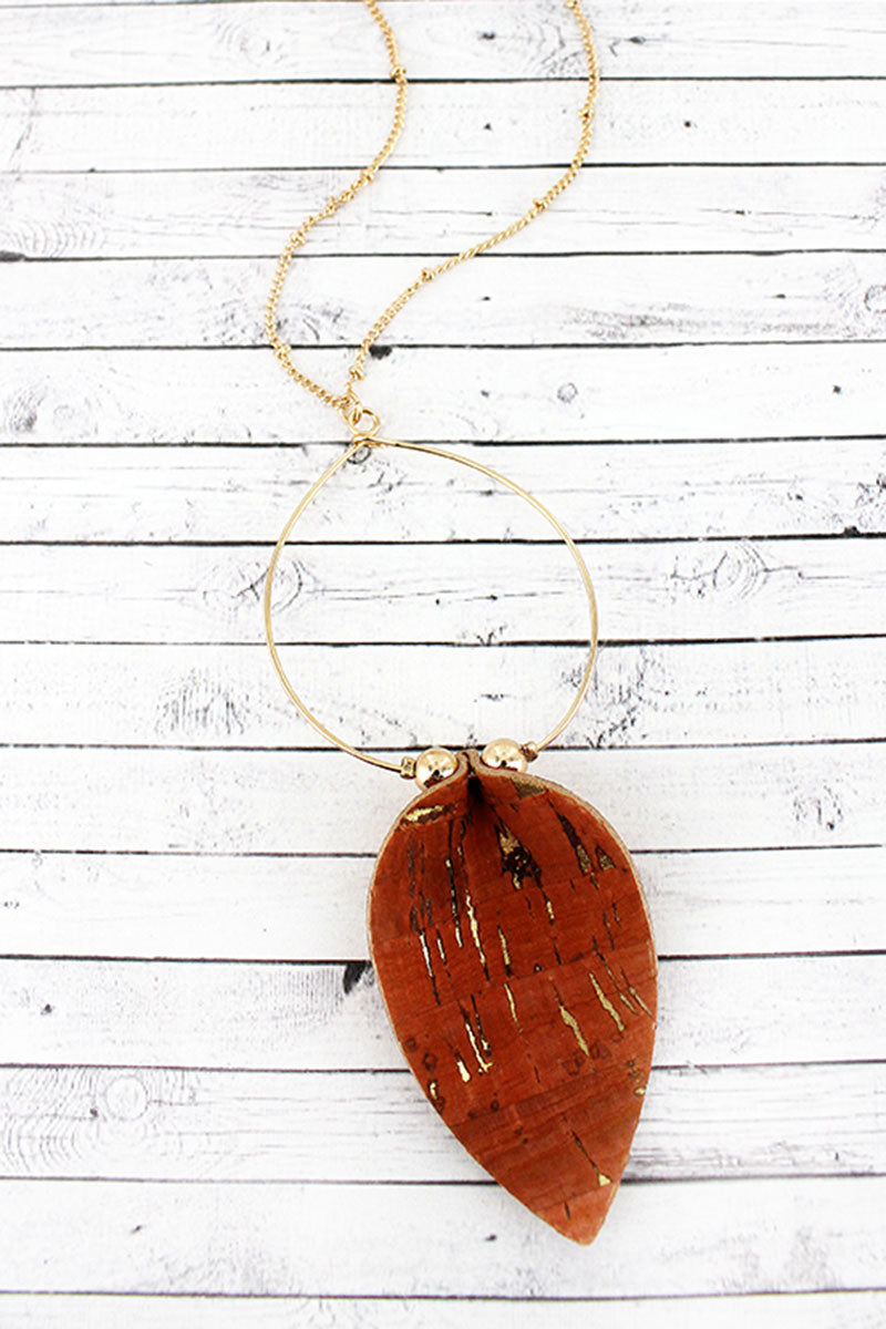 Coral Cork Petal and Goldtone Hoop Pendant Necklace
