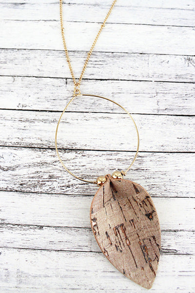 Ivory Cork Petal and Goldtone Hoop Pendant Necklace
