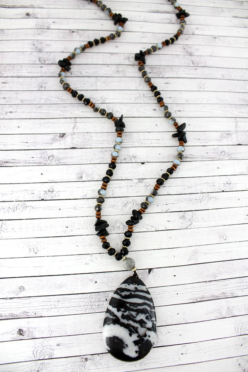 Zebra Stone Teardrop Pendant Beaded Necklace