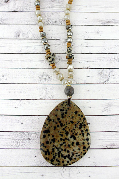 Dalmatian Jasper Stone Teardrop Pendant Beaded Necklace