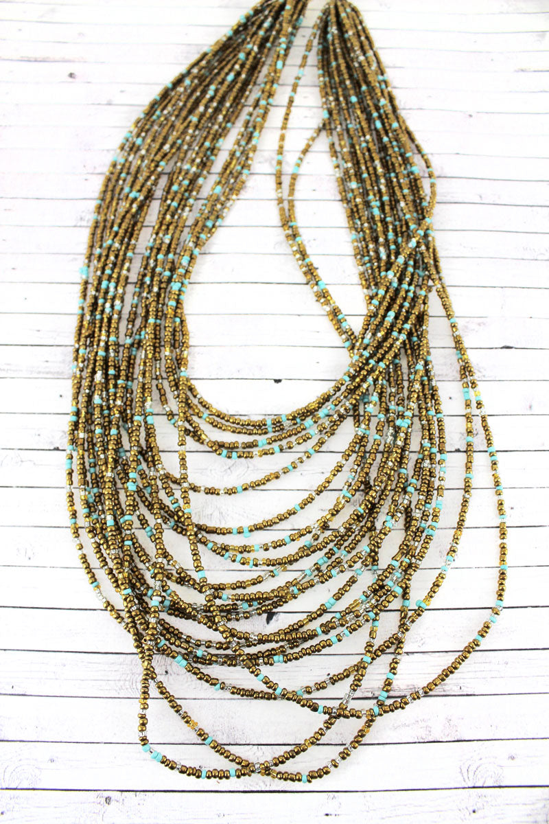 Layered Gold Multi-Color Seed Bead Necklace