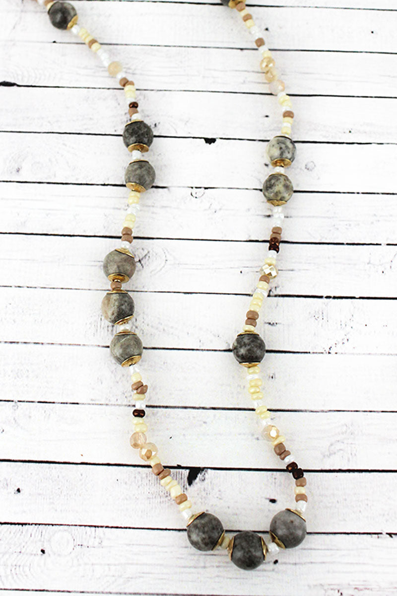 Gray Stone and Seed Bead Necklace