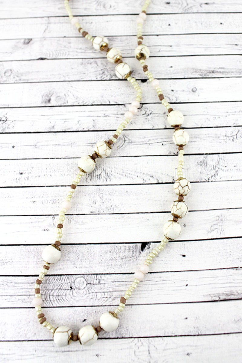 Ivory Stone and Seed Bead Necklace