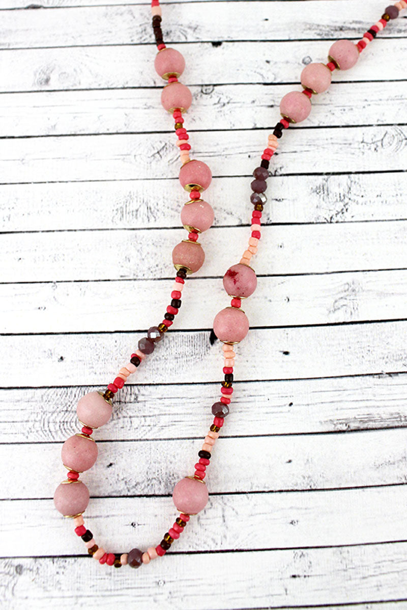 Pink Stone and Seed Bead Necklace
