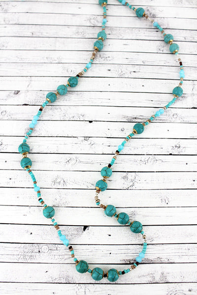 Turquoise Stone and Seed Bead Necklace