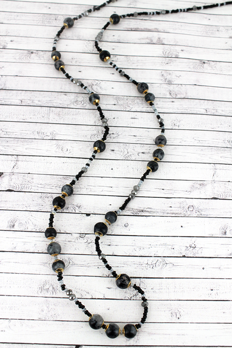 Hematite and Black Stone and Seed Bead Necklace
