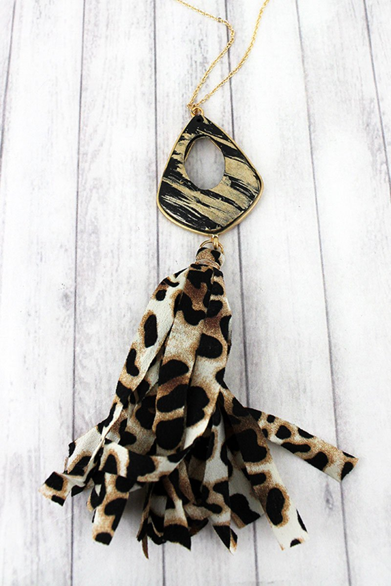 Brushed Gold Moroccan Teardrop and Leopard Fabric Tassel Pendant Necklace