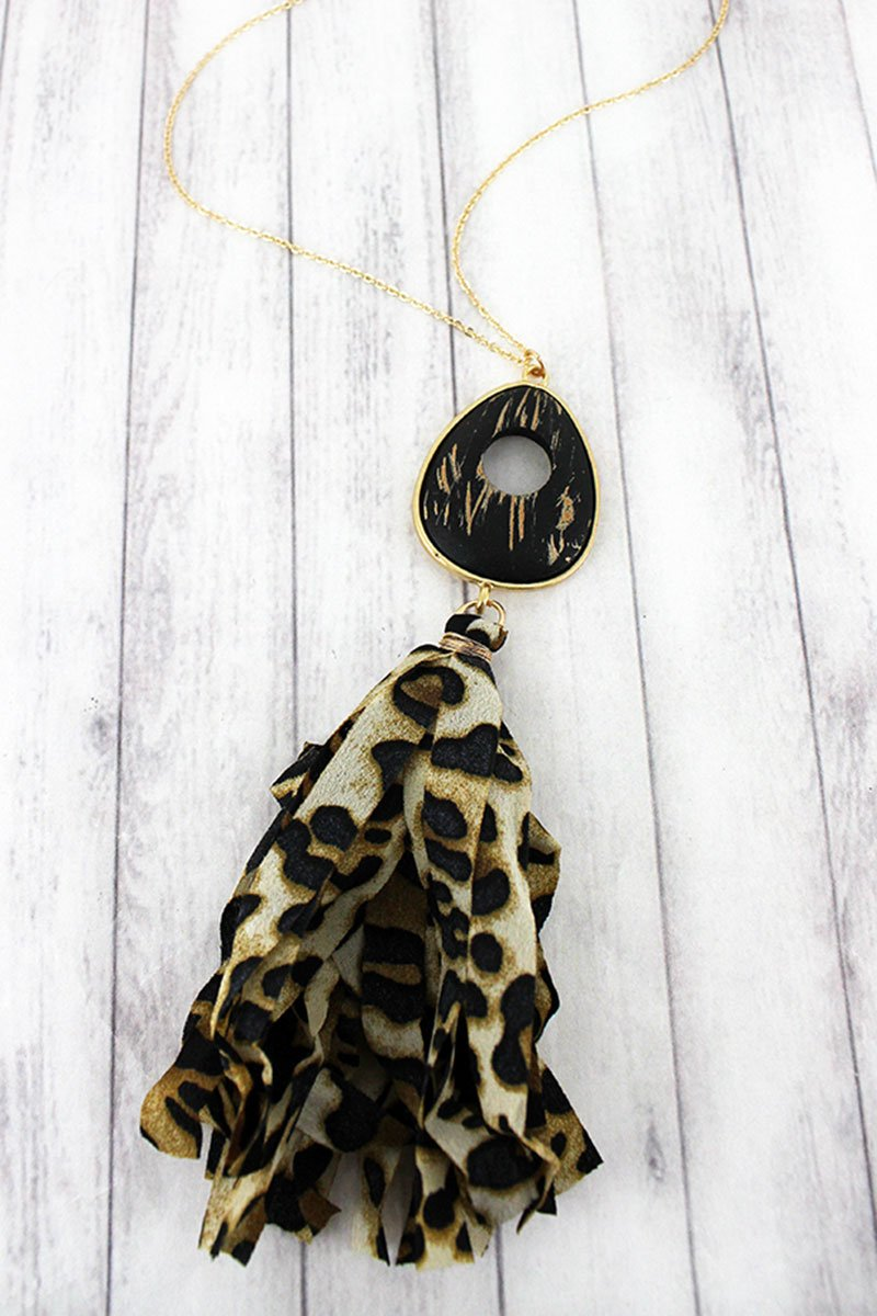 Brushed Gold Teardrop and Leopard Fabric Tassel Pendant Necklace