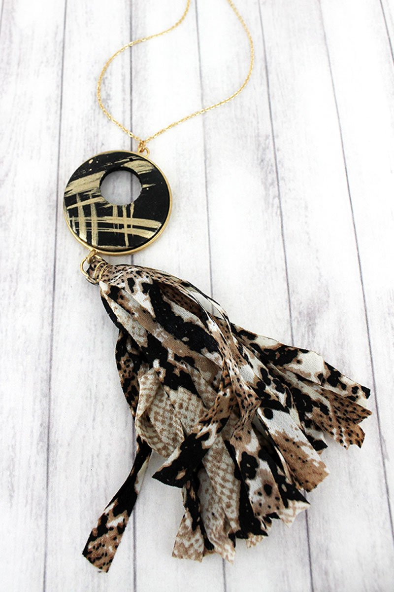 Brushed Gold Disk and Snakeskin Fabric Tassel Pendant Necklace