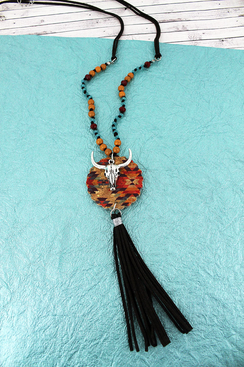 Southwestern Cork Disk & Steer with Brown Tassel Beaded Cord Necklace