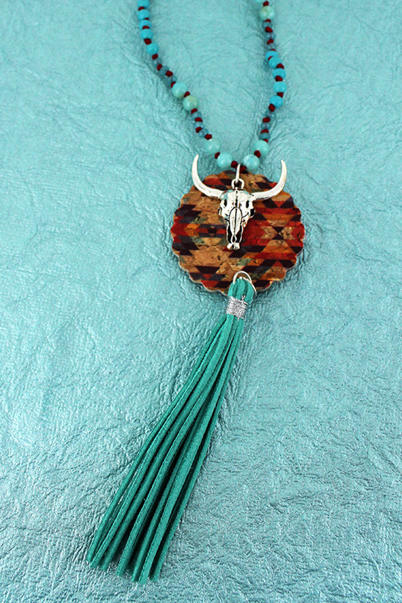 Southwestern Cork Disk & Steer with Turquoise Tassel Beaded Cord Necklace