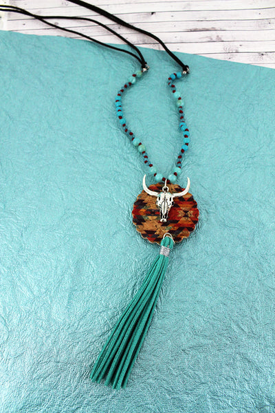 SALE! Southwestern Cork Disk & Steer with Turquoise Tassel Beaded Cord Necklace