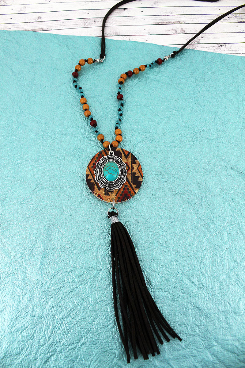 Southwestern Cork Disk & Concho with Brown Tassel Beaded Cord Necklace
