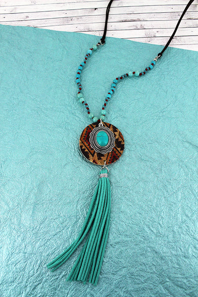 Southwestern Cork Disk & Concho with Turquoise Tassel Beaded Cord Necklace