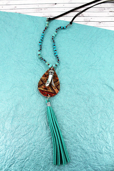 SALE! Southwestern Cork Teardrop & Squash Blossom with Turquoise Tassel Beaded Cord Necklace