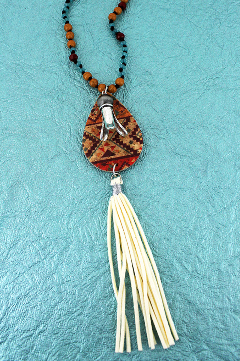 Southwestern Cork Teardrop & Squash Blossom with Ivory Tassel Beaded Cord Necklace