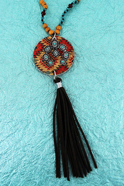 Southwestern Cork Disk & Naja with Brown Tassel Beaded Cord Necklace