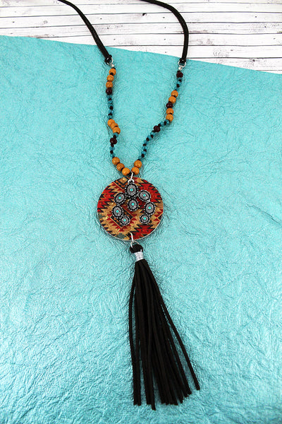 SALE! Southwestern Cork Disk & Naja with Brown Tassel Beaded Cord Necklace
