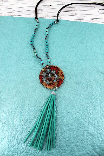 Southwestern Cork Disk & Naja with Turquoise Tassel Beaded Cord Necklace