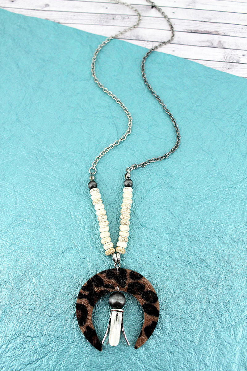 Faux Leopard Naja and Squash Blossom Pendant Necklace