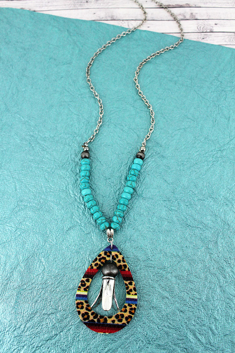 Faux Leopard Serape Leather Open Teardrop and Squash Blossom Pendant Necklace