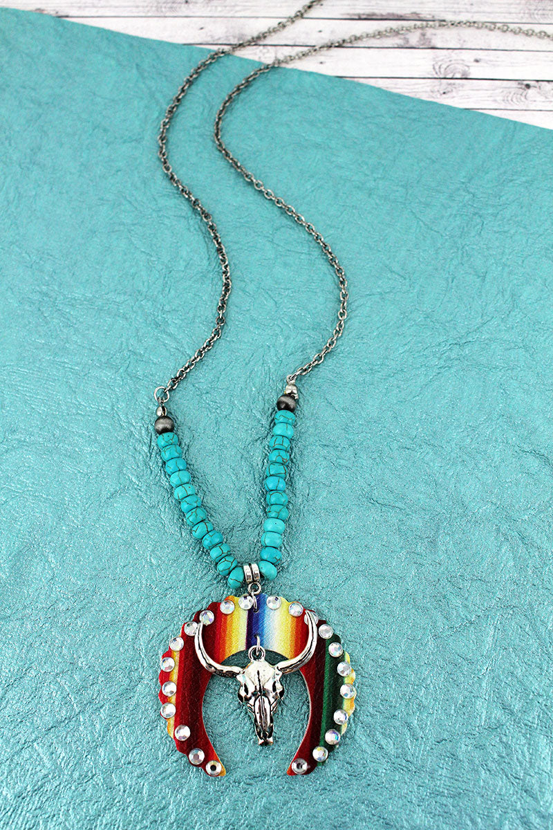 Crystal Faux Serape Leather Naja and Steer Skull Pendant Necklace