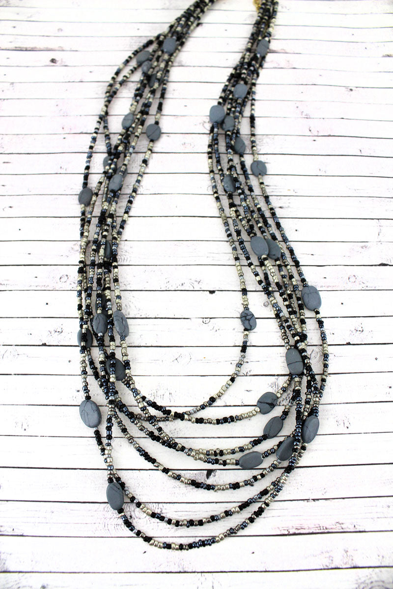 Layered Black Monochrome Seed Bead and Stone Oval Disk Necklace