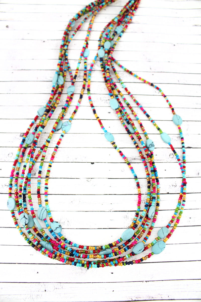 Layered Multi-Color Seed Bead and Stone Oval Disk Necklace