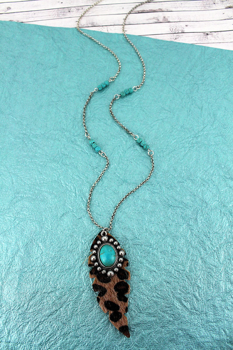 Leopard Feather and Turquoise Diamond Concho Pendant Necklace