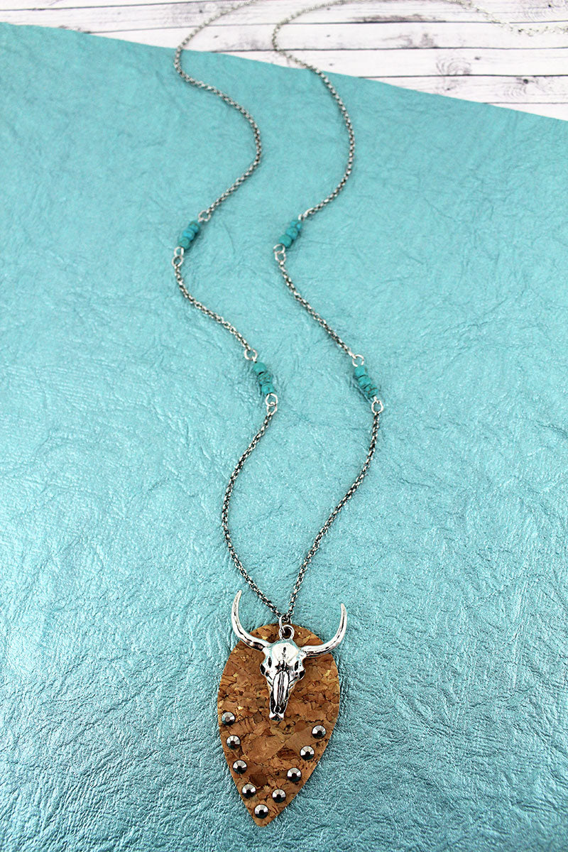 Crystal Cork Petal and Steer Skull Pendant Necklace