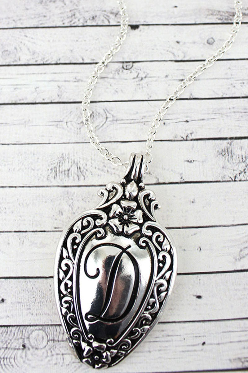 Antique Silvertone 'D' Initial Spoon Pendant Necklace