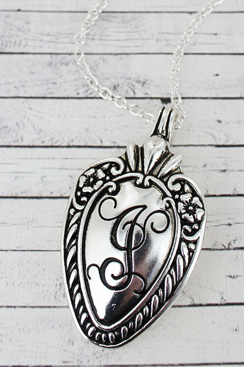 Antique Silvertone 'J' Initial Spoon Pendant Necklace