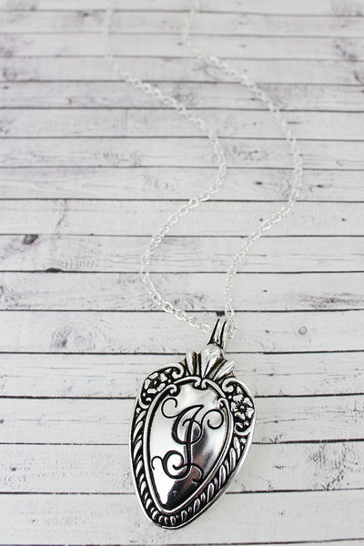 SALE! Antique Silvertone 'J' Initial Spoon Pendant Necklace