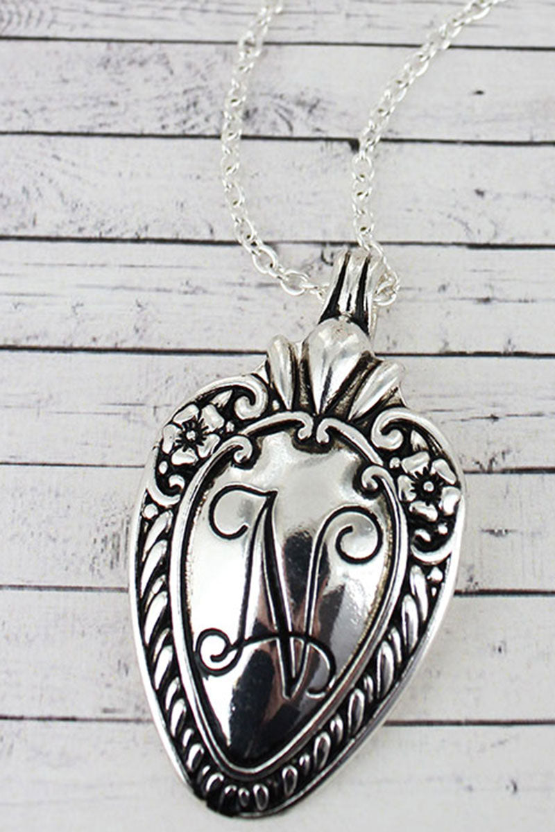 Antique Silvertone 'N' Initial Spoon Pendant Necklace