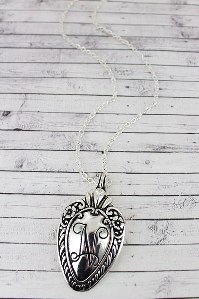 SALE! Antique Silvertone 'N' Initial Spoon Pendant Necklace