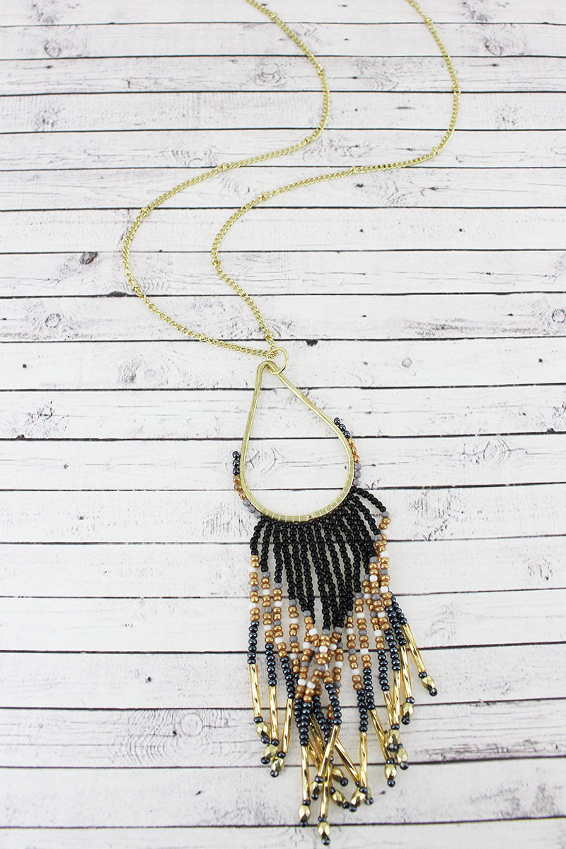 Goldtone and Black Multi-Color Seed Bead Teardrop Fringe Pendant Necklace