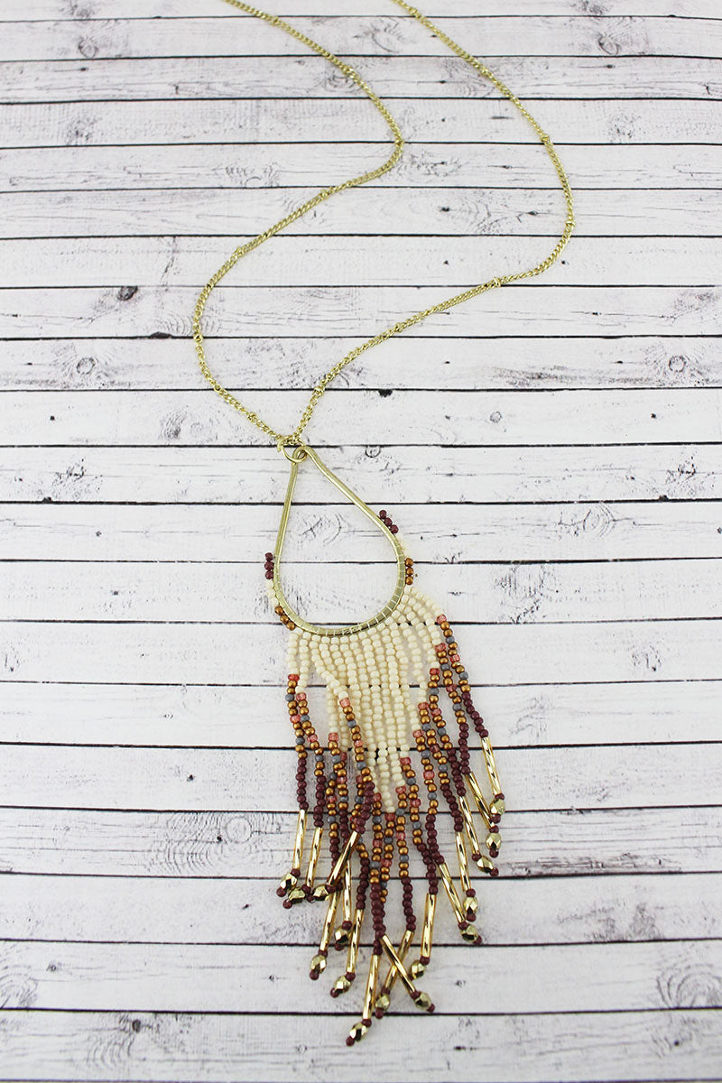 Goldtone and Ivory Multi-Color Seed Bead Teardrop Fringe Pendant Necklace