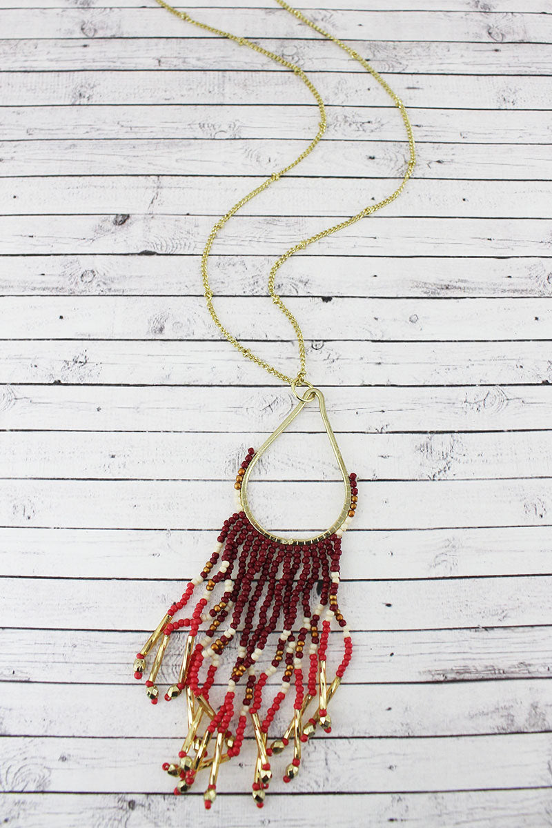 Goldtone and Burgundy Multi-Color Seed Bead Teardrop Fringe Pendant Necklace