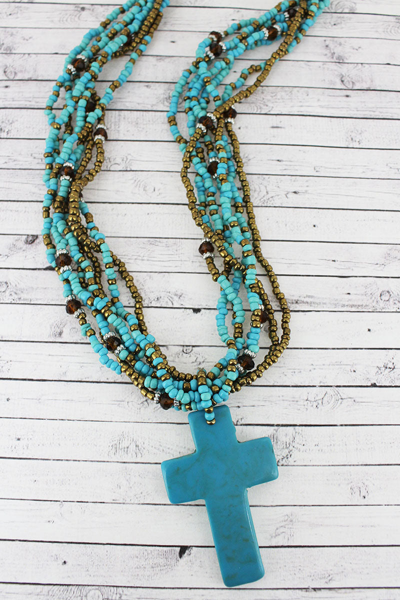 Turquoise Cross Multi-Strand Seed Bead Necklace