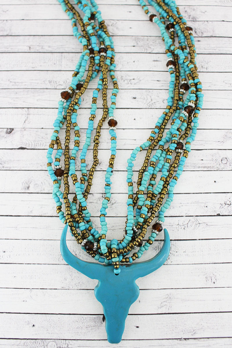 Turquoise Steer Head Multi-Strand Seed Bead Necklace
