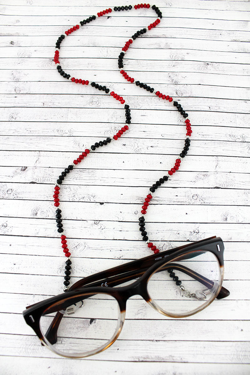 Red and Black Faceted Bead Eyeglasses Strap Necklace