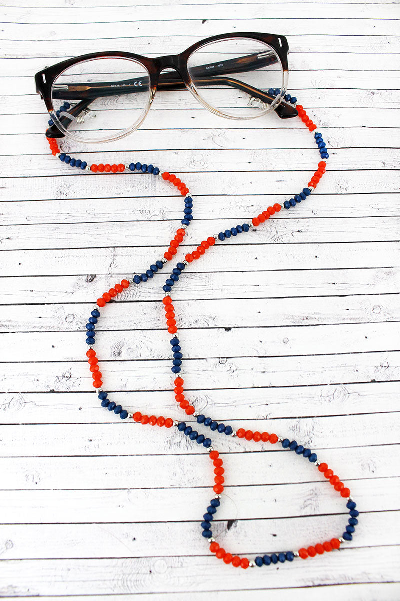 Navy and Orange Faceted Bead Eyeglasses Strap Necklace