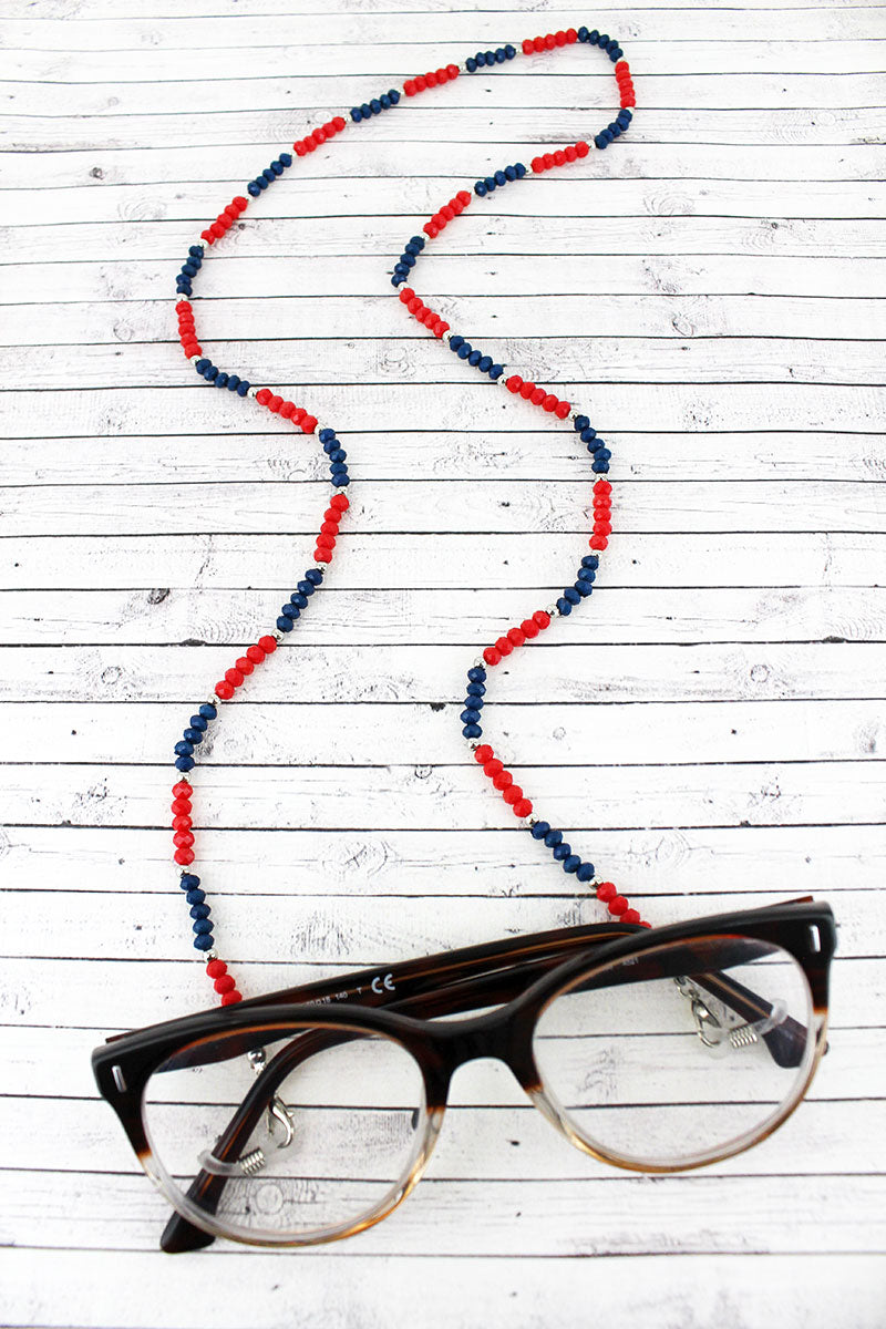 Navy and Red Faceted Bead Eyeglasses Strap Necklace